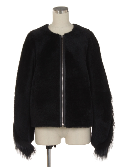 シクラス(CYCLAS)のMOUTON JACKET W/FUR SLEEVE ブルゾン