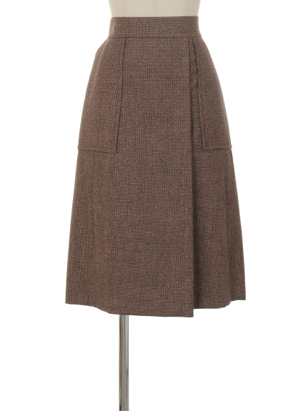 シクラス(CYCLAS)のWOL/LIN HOUNDS TOOTH BOX SKIRT 膝丈スカート