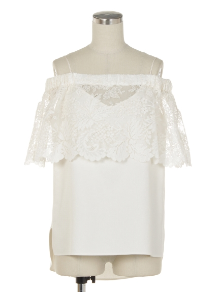 シクラス(CYCLAS)のCYC/ EMBROIDERY CODE LACE BARE SHOULDER TOP ブラウス