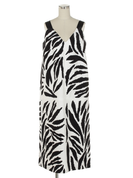 シクラス(CYCLAS)のCYC/ FULL ZEBRA PATTERN EMBROIDERY SLIP DRESS ノースリーブワンピース