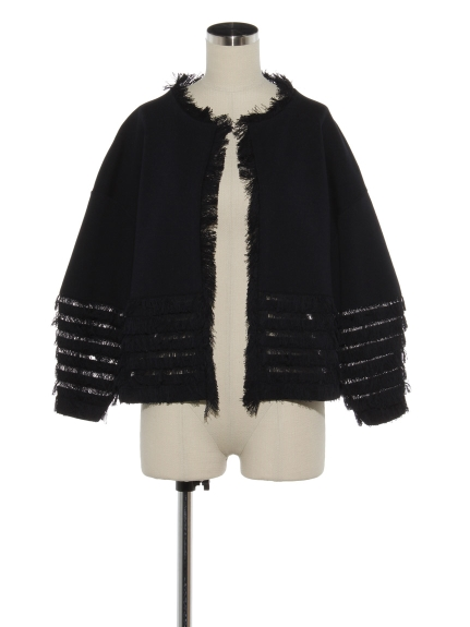 シクラス(CYCLAS)のCTN FULL NEEDLE WIDE SLEEVE FRINGE KNIT JACKET ニットアウター