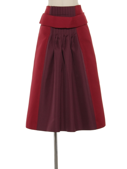 シクラス(CYCLAS)のPE DOUBLE CLOTH TWO TONE TUCKED SKIRT フレアスカート