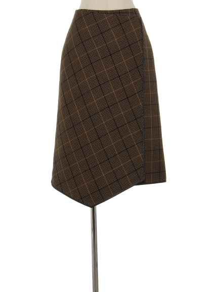 シクラス(CYCLAS)のWOL PLAID W-FACE WRAP SKIRT 膝丈スカート