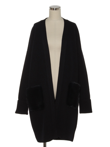 シクラス(CYCLAS)のMINK FUR POCKET LONG CARDIGAN ニットアウター