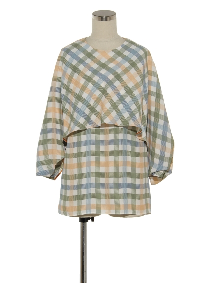 シクラス(CYCLAS)のVIS PLAID PRINT CAPE DETAIL TOP ブラウス
