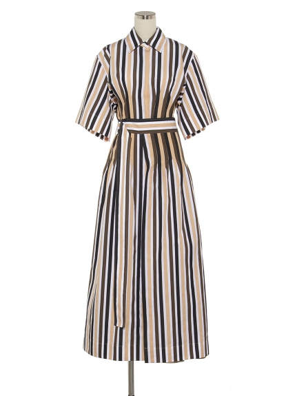 シクラス(CYCLAS)のCTN/SLK MULTI COLOR STRIPE TUCKED DRESS シャツワンピース