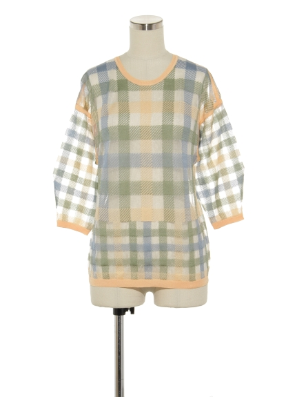 シクラス(CYCLAS)のPLAID JACQUARD VOLUME SLEEVE P/O ニット