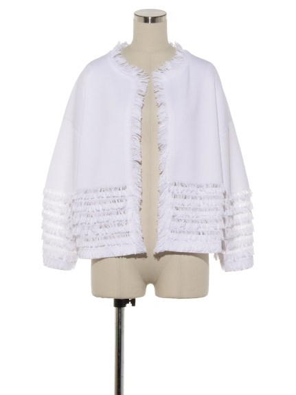 シクラス(CYCLAS)のCTN FULL NEEDLE WIDE SLVS FRINGE JACKET ノーカラージャケット