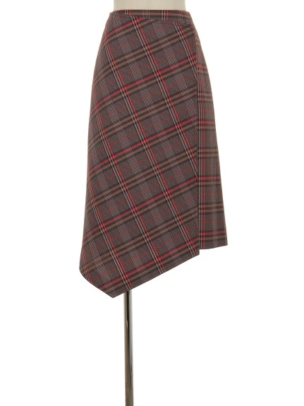 シクラス(CYCLAS)のWOL NYL PLAID ASYMMETRIC SKIRT 膝丈スカート