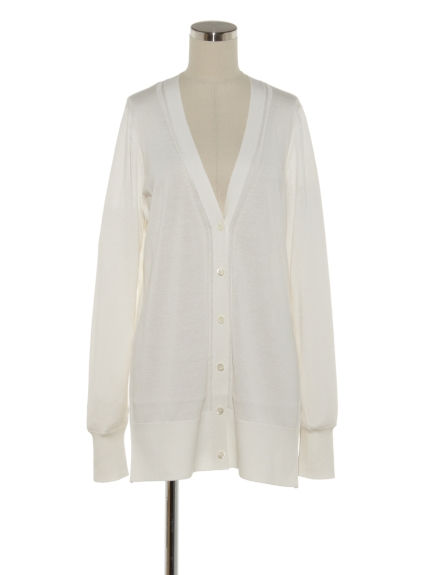 シクラス(CYCLAS)のSLK CTN V NECK CARDIGAN W/SIDE SLIT カーディガン
