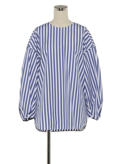 シクラス(CYCLAS)のCTN STRIPE NO COLLAR SHIRT ブラウス